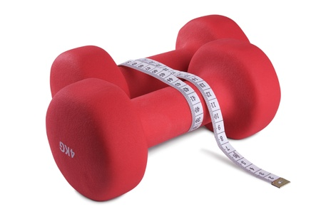 shaping: Two red plastic coated dumbells isolated on white background Stock Photo