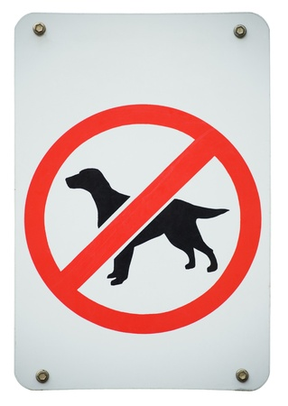 old forbidden dogs sign isolated on a white background. photo