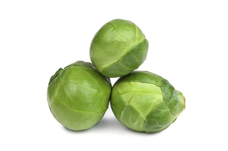 brussel: Ripe Green brussel sprouts isolated on white background Stock Photo