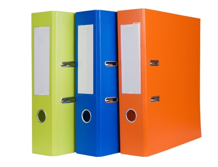 Colorful office folders isolated on white background Stock Photo