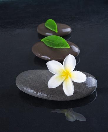 massage symbol: zen stones with frangipani flower on black  background Stock Photo