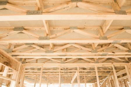 New residential construction home framing with ceiling view  Stock Photo