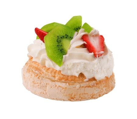 イチゴとキウイの有名なオーストラリアのパブロバ デザート 写真素材