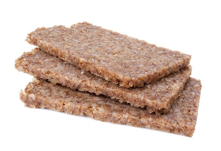 rye bread: Real German whole grain rye bread slices isolated on white Stock Photo