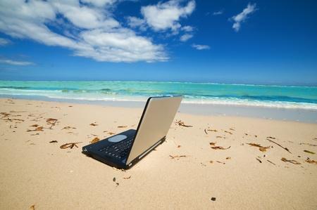 freelance: laptop on the beach as a   freelance idea