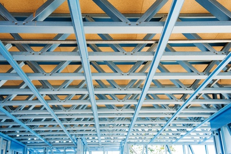 steel blue: New residential construction home metal framing.Fragment.