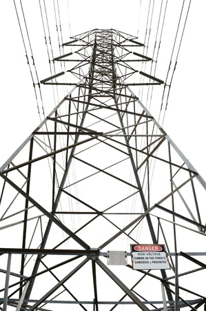 High voltage power pole on white background with danger sign photo