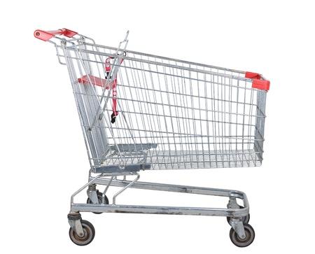 Empty used shopping trolley isolated on white background  photo