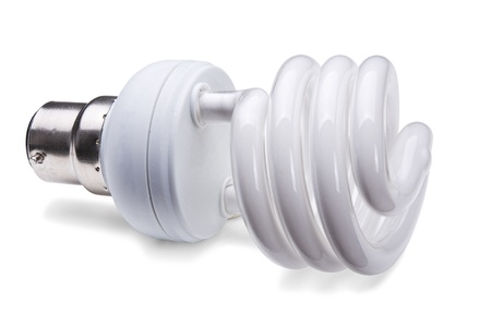 Compact fluorescent lamp (CFL)- energy saving light on white background photo