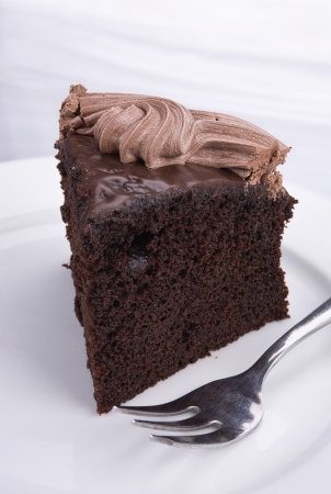 chocolate slice: Piece of dark chocolate cake on white background Stock Photo