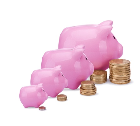 interests: Different banks - different money. Conceptual image with piggy  banks and  coins isolated on white