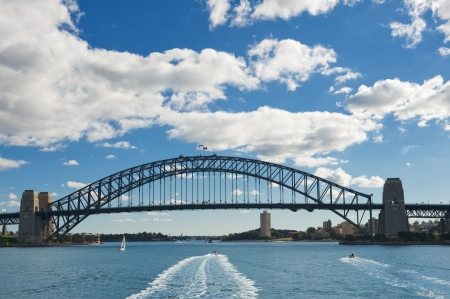 australia day: View of the Sydney Harbour Bridge from the sea