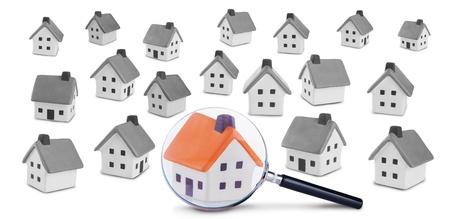 検索および家の検査の概念図。白い背景に分離 写真素材