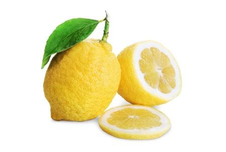 白い背景で隔離の葉とレモンのイメージ 写真素材