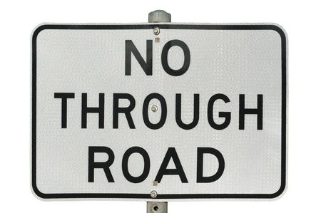 old no through road traffic sign with reflect surface isolated on a white background Stock Photo - 15481433