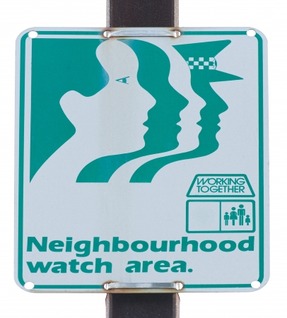 neighbourhood:  old neighbourhood watch area road sign on white background