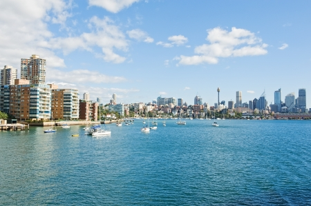 south coast: skyline of Sydney with the city housing estate and Sydney Harbour Stock Photo
