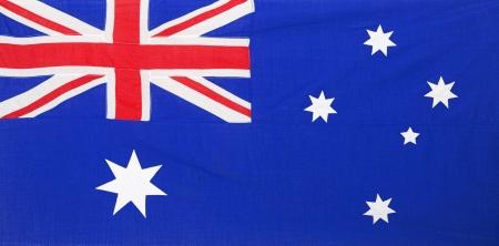 australia flag: fabric textured  Australian flag with seams and  folds