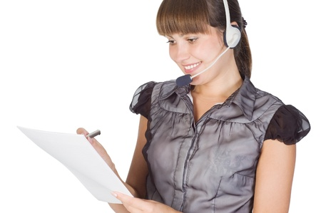 Young happy beautiful customer service operator girl in headset Stock Photo - 17446741