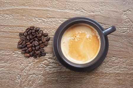 Coffee cup and beans on grunge wooden background photo