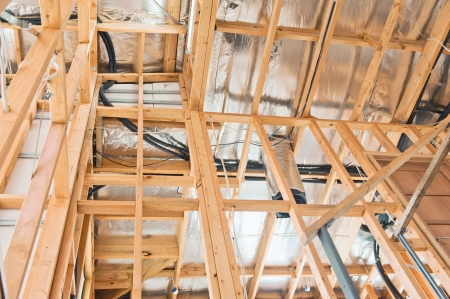 timber frame: Interior view construction new residential home