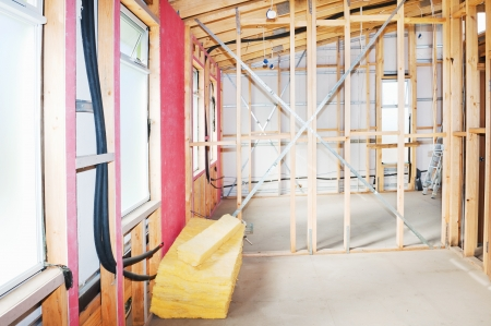 lagging: Interior view construction new residential home