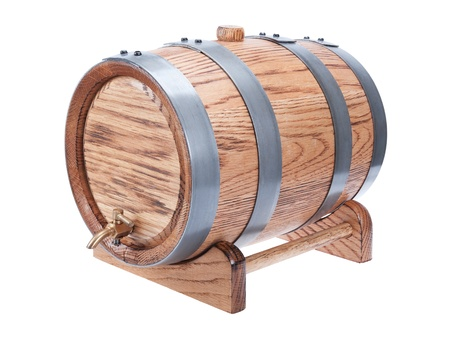 vintage oak wine barrel isolated on white background photo