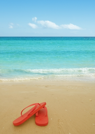 flip flops: Red flip flops on the beach sand.Concept of summer vacations