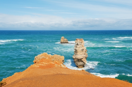 coastal erosion: famous rocks in the Bay of Islands Coastal Park,Great Ocean Road, Australia