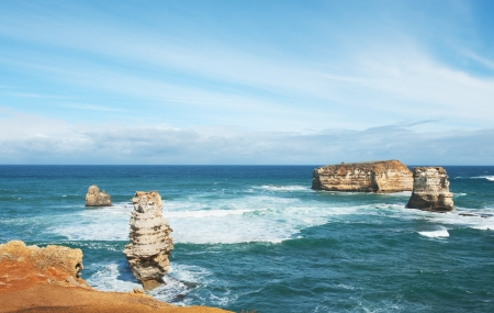famous Rocks in the Bay of Islands Coastal Park,Great Ocean Road, Australia photo