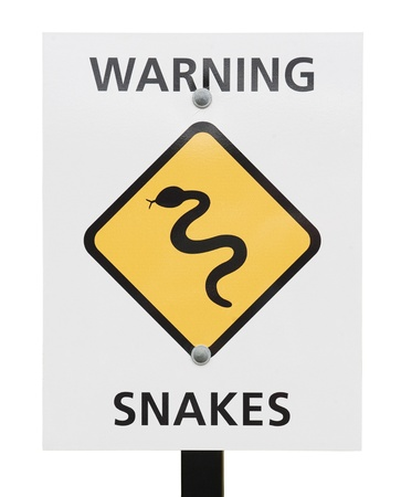 yellow snakes warning sign in the beach in Australia photo