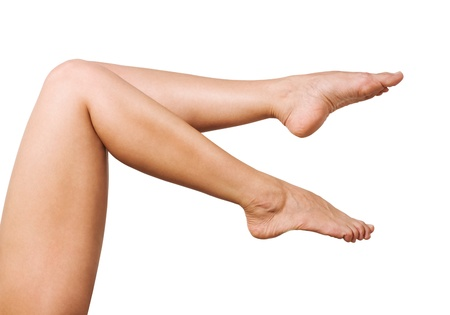 image of smooth,sexy and beautiful female legs isolated on white Stock Photo