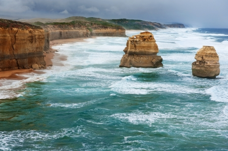 The Twelve Apostles in the storm weather, along the Great Ocean Road, Australia photo