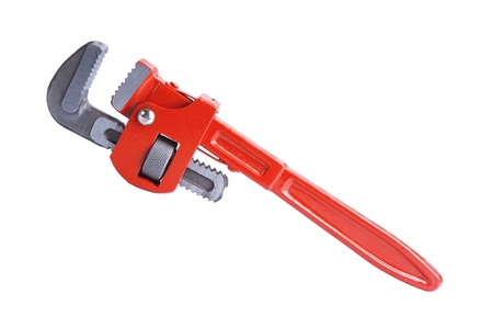 adjustable wrench: Adjustable pipe wrench isolated on white background Stock Photo