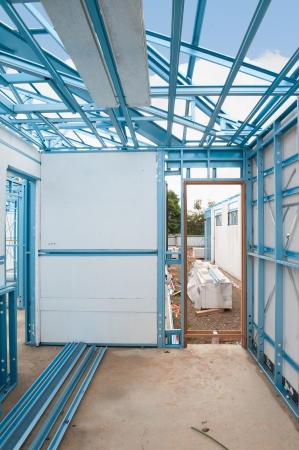 New home under construction using steel frames with insulation Stock Photo - 20234596