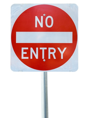 no entry sign: old no entry traffic sign on white  background