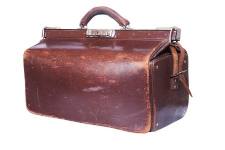valise: Brown vintage valise isolated on a white background  Stock Photo