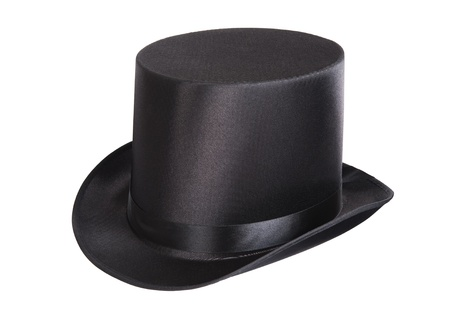 topper: Black top hat isolated on white background  Stock Photo