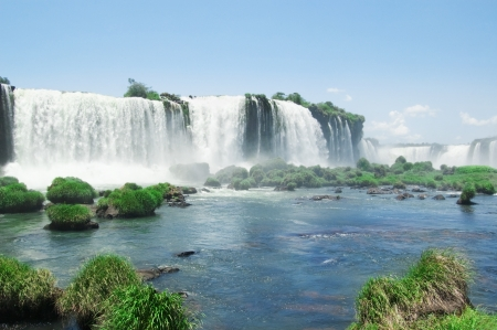 waterfall with sky: the famous Iguazu Falls on the border of Brazil and Argentina