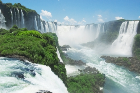 argentina: the famous Iguazu Falls on the border of Brazil and Argentina