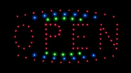 ortseingangsschild: LED öffnen Zeichen Nacht in der Stadt isoliert auf schwarz Lizenzfreie Bilder