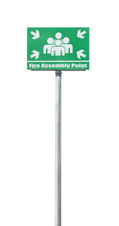 assembly point: Fire assembly point sign isolated on a white  Stock Photo