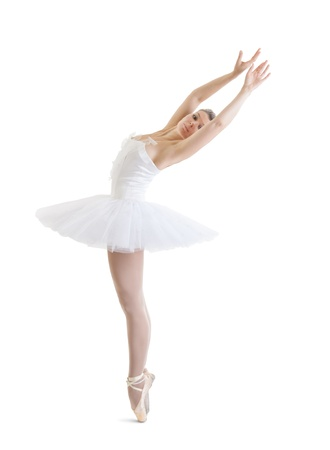 beautiful ballerina in classical tutu on a white background photo