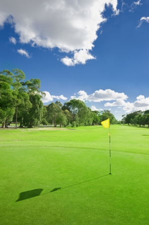 golf stick: Landscape of a beautiful green golf course with sky