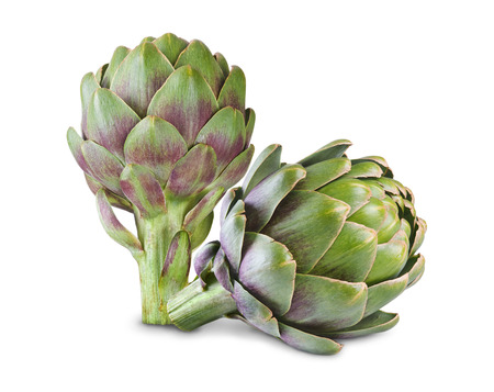 Ripe green artichokes isolated on white