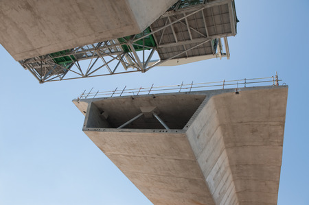 steel arch bridge: fragment  view  of the road under reconstruction