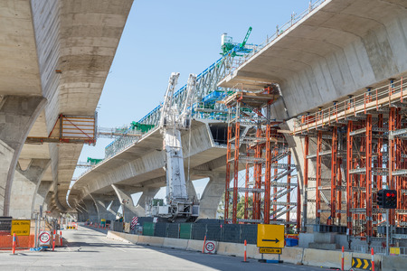 fragment  view  of the road under construction  photo