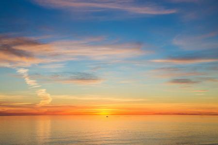 over the sea: Beautiful seascape sunset over the sea