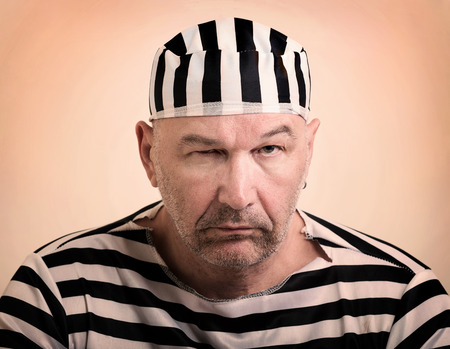 strafgefangene: Portr�t eines Mannes Gefangener in Str�flingskleidung