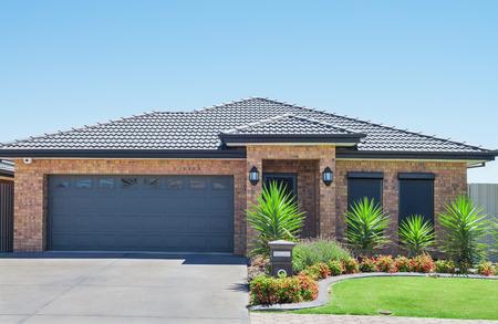 suburban: typical  facade of a modern suburban  house